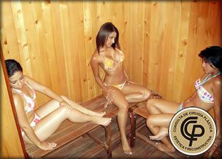 Bbw en la sauna